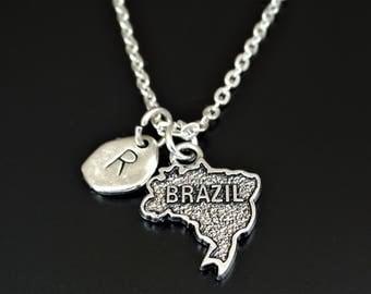 Brazil Necklace, Brazil Charm, Brazil Pendant, Brazil Jewelry, Brazil Map Necklace, Brazil Map Jewelry, Brazilian Girlfriend, Brazil Travel