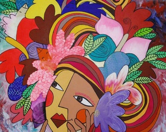 "Original Acrylic ""All in your head"" 70 x 100 cm"