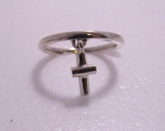 Cross charm Sterling Silver ring