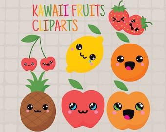 Kawaii Fruits Cliparts, Kawaii Cliparts, Cute Fruits Cliparts, Cute Kawaii Cliparts, Kawaii Food, Cute Kawaii SVG, 300 ppi, HD, Vector Files