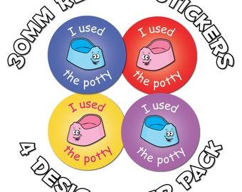 Potty training - 30mm Reward Stickers - School, Nursery, Teachers, Parents