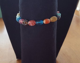 Multi colored stone bead bracelet