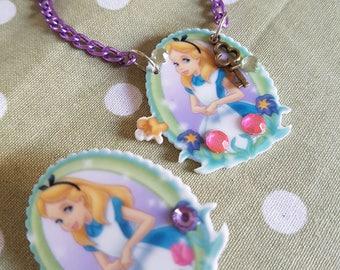 Alice in Wonderland Bib Style Necklace or Brooch. Great Disney Novelty Gift