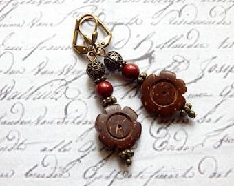 Coconut and Bordeaux Swarvoski Pearl Earrings