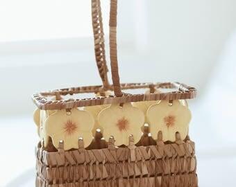 Vintage Hawaiian Hibiscus Basket