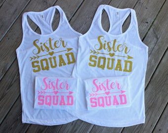 Sister Squad Glitter Adult Women Ladies' Racerback Tank Top