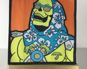 MOTU - Woven Patch -Tiki Art, Lowbrow Art, Pop Art, MOTU, Palm Trees, Kitsch, Chill, Cool, Bright Colors, Embroidered Patch
