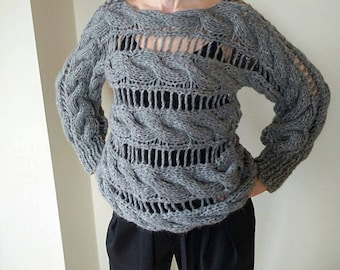 Gray women hand knit  sweater
