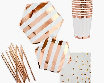 Rose Gold PARTY in a BOX KIT, Party Kit, Bridal Shower Kit, Party Kit, Party in a Box,Party Tableware Kit,Party Box,Baby Shower Kit,Rosegold