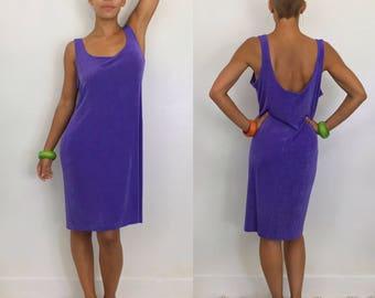 Vintage 90s Slinky Acetate Knee Length Low Back Purple Tank Dress, Size L