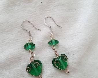 Hearts of Emerald Earrings,  Green Glass Earrings, Silver wire-wrapped Earrings, Glass Heart Earrings, Glass Bead Earrings
