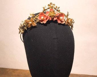 Ornate Victorian Collection  1920s Hand painted brass Pink rose tiara/ wedding tiara/ wedding crown/bridal tiara/hair accessory/bridal crown