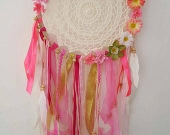 Dream Catcher, Flower /Dream Catcher/BOHO/Bohemian Decor/Home Decor/Gift/ Floral