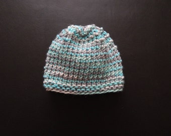 Handmade knit baby boy hat in a variety of sizes & colors, made to order
