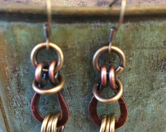 Earring set made of hand forged hammered copper