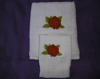 Rose Design Hand Towel Set
