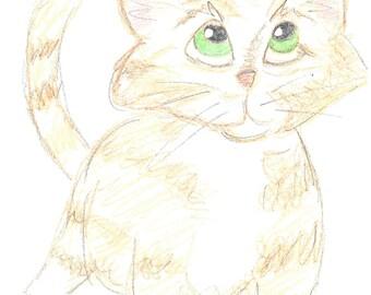 Original art - cat, kitten, pets, animals