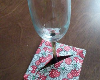 Wine glass coaster; quilted coaster; stem ware coaster; cotton coaster