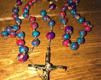 Handmade Rosary - Purple, Red, Turquoise
