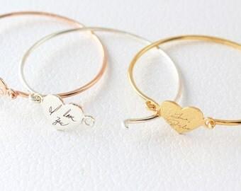 Custom Actual Handwriting Jewelry - Handwriting Bangle - Engraved Signature Bracelet - Keepsake Jewelry - Sentimental Mother Gift