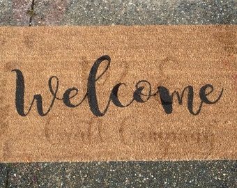 Welcome Mat -- Custom welcome mat -- Personalized welcome mat -- Newlywed Gifts -- Housewarming Gifts for Him and Her