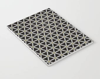 Geometric notebooks, Lined notebook, Black notebook, Black stationary, Black Geometric, Stationary, paper, a5 notebook, stationary gift
