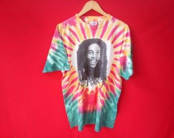 vintage Bob marley tie dye reggae music concert mens t shirt