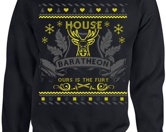 Game of Thrones. Ugly Christmas Sweater. Game of Thrones Sweatshirt. Ugly Sweater House of Baratheon. Ours is the Fury. Unisex Sweatshirt