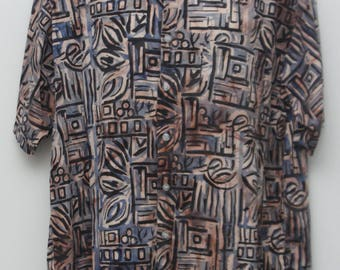 "Rare 90's Vintage ""R&Y SPORT"" Short-Sleeve Abstract Patterned Shirt Sz: X-Large (Men's Exclusive)"