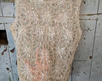 Vintage sheer beaded lace top