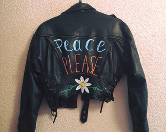 Peace Please Hand painted Biker Jacket