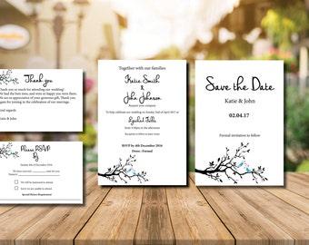 Printable  wedding invitation wedding love birds invitations love birds invitation suite wedding invites wedding invitation set