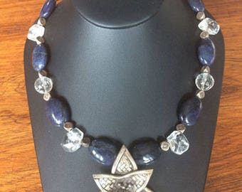 Dramatic Artisan Necklace of Stones, Crystal, and Sterling, Handmade