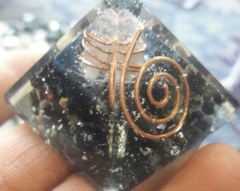 Orgone Black Tourmaline Natural Stone - Pyrite -Copper - Crystal 50 MM