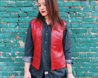 Bagatelle Red LEATHER Vest // Small