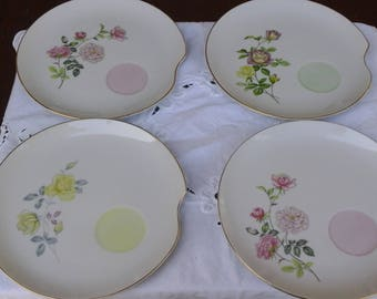 Set of 4 Hand painted floral rose, tea and snack plate by Lefton