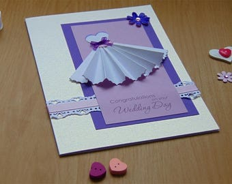 Greeting card, wedding card in white, purple and pink. Handmade