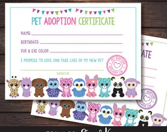 Beanie Boo adoption party, Beanie Boo adoption certificate, Beanie Boo adoption party, DIGITAL