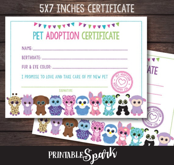 Beanie Boo Adoption Party Beanie Boo Adoption Certificate