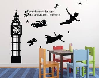 Peter Pan Wall Decal - Second Star To The Right And Straight On Till Morning Wall Decal Quote - Nursery Playroom Wall Art - Kids Vinyl Decal