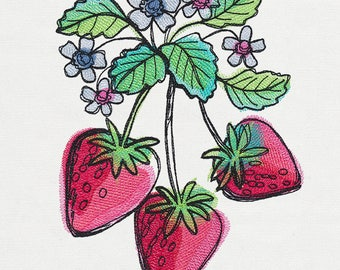 Dish Towel, Tea Towel, Fruit Towel, Kitchen Hand Towel, Hostess Gift, House Warming Gift, Embroidered Kitchen Decor, Summer, Strawberries