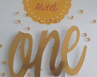 "High Shine Gold ""ONE"" Cake Topper"