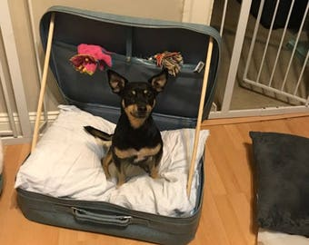 Blue Vintage Suitcase Pet Bed