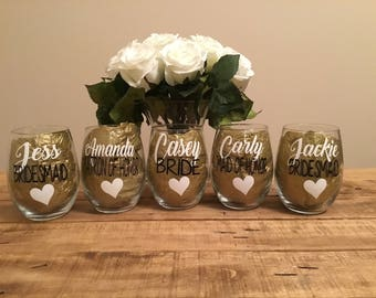 Bridesmaid wine glass. Bridesmaid wine glasses bridesmaid gift. Ask to be bridesmaid. Asking to be bridesmaid. Bridal party wine glasses.
