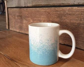 Ombré blue and white coffee mug