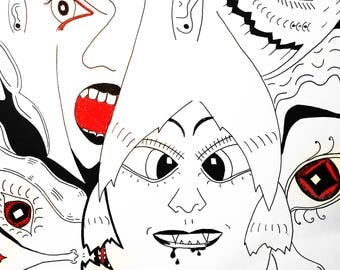 Abstract Faces Ink Drawing