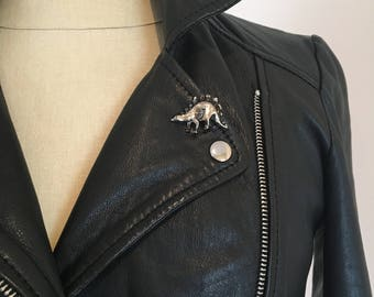 Silver Stegosaurus Pin