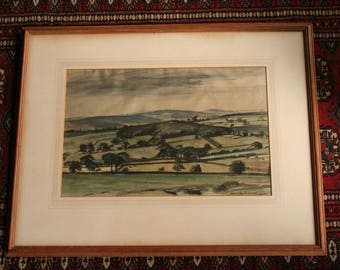 Early C20th landscape painting, 1936, framed by artist Alan Sorrell