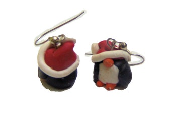 Santa Penguin Earrings - Christmas jewelry - Polymer Clay Penguin Earrings - Dangle Christmas Earrings - Holiday Jewelry