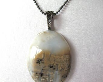 Oval Plume Agate Cabochon Pendant Necklace with Gun Metal Findings and Chain